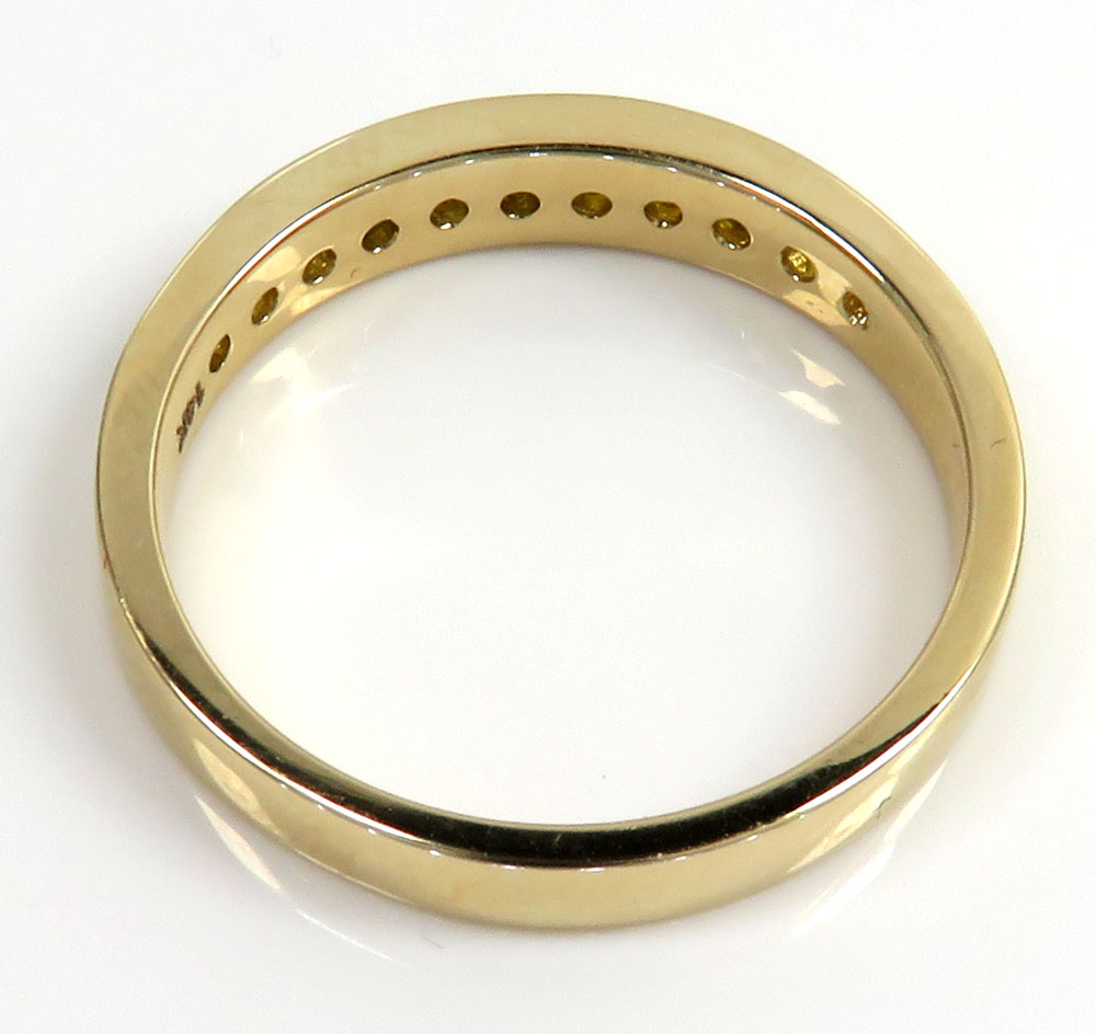 Unisex 14k yellow gold canary diamond wedding band 0.50ct