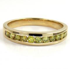 UNISEX 14K YELLOW GOLD CANARY DIAMOND WEDDING BAND 0.50CT