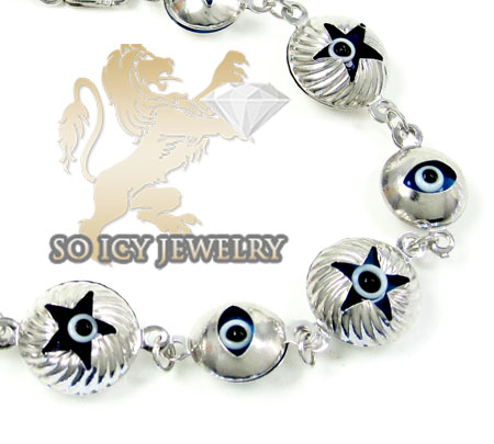 10k white gold evil eye bracelet 7.25inch