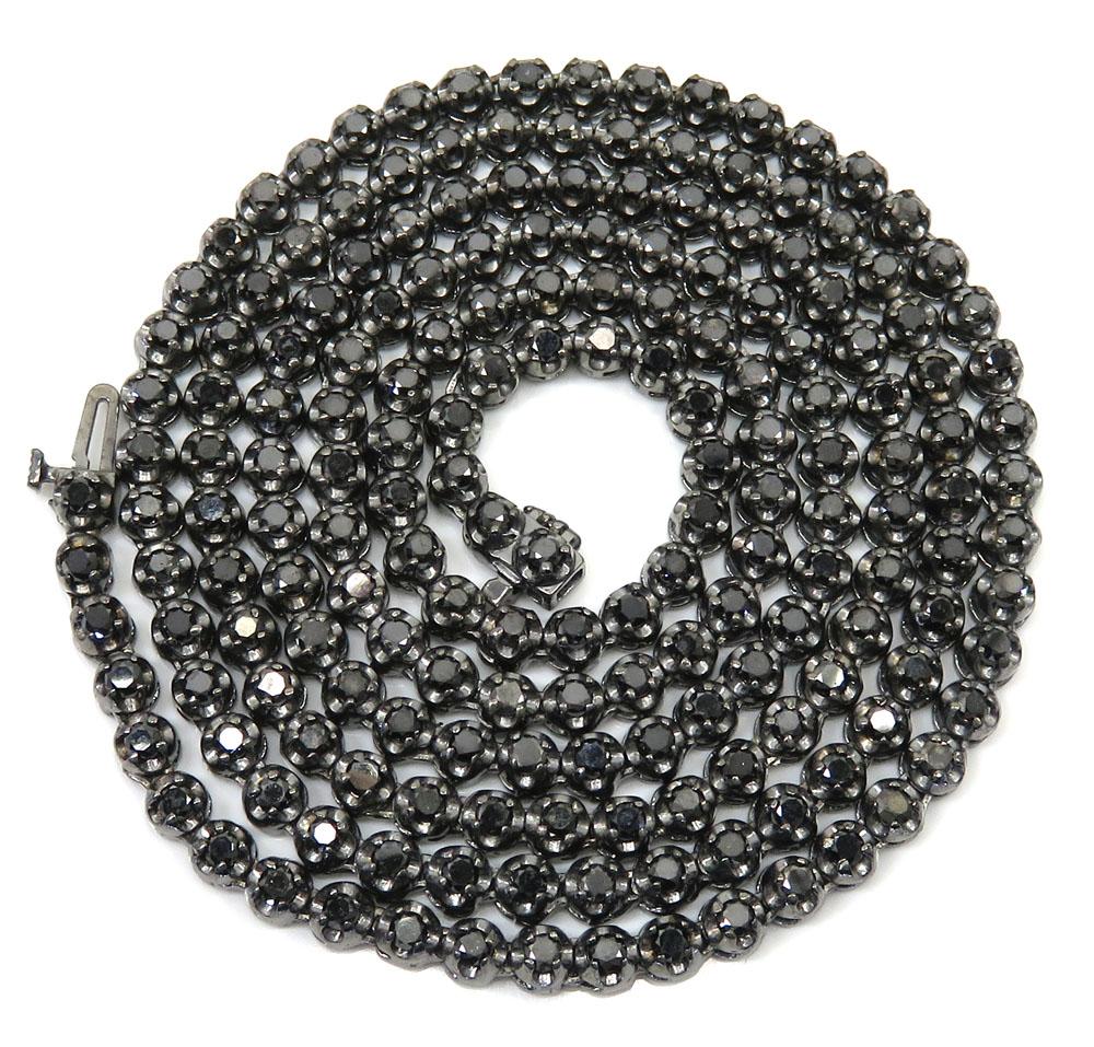 Black sterling silver black diamond tennis chain 13.07ct 20-32