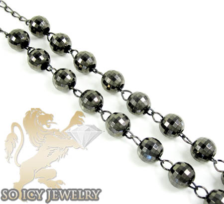Black sterling silver diamond cut rosary chain necklace 32 inches 8mm