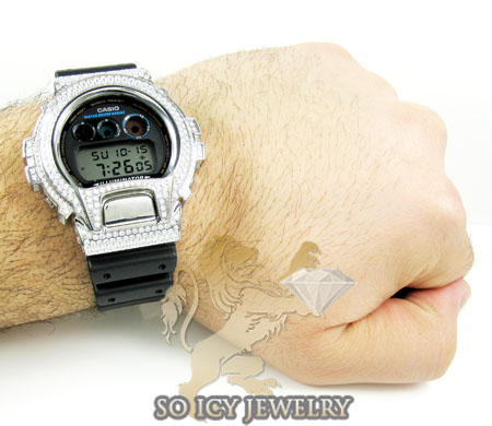 Mens white cz dw-6900 g-shock watch 5.00ct