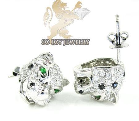 14k white gold diamond tiger earrings 1.55ct