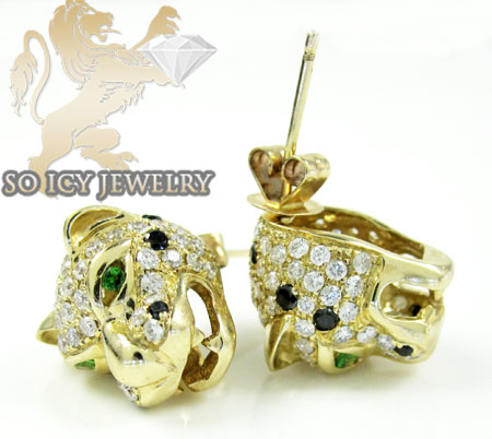 14k yellow gold diamond tiger earrings 1.55ct
