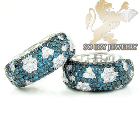 10k white gold fancy blue diamond hoops 2.56ct