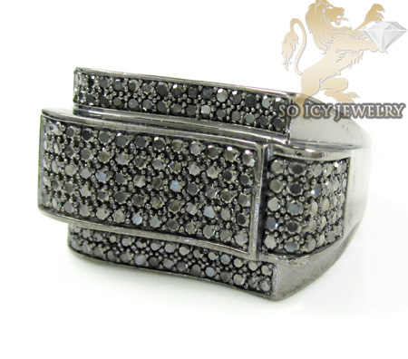 Black sterling silver fancy diamond ring 2.25ct