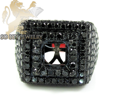Black sterling silver fancy black diamond semi mount ring 4.35ct