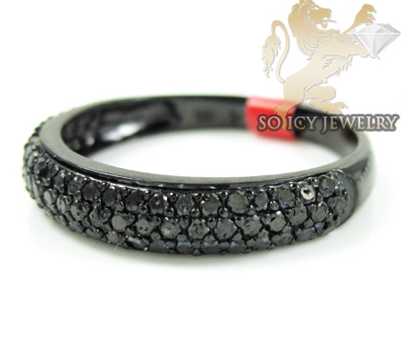 Black sterling silver fancy black diamond wedding band 0.91ct