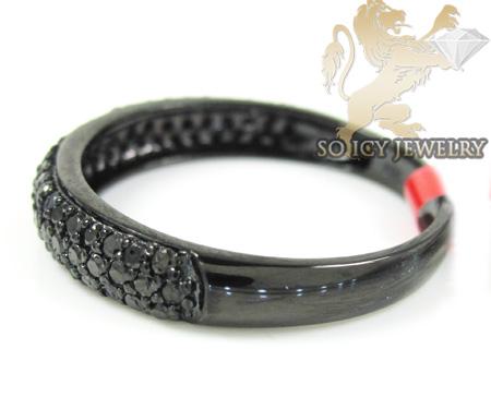 Black sterling silver fancy black diamond wedding band 0.91ct