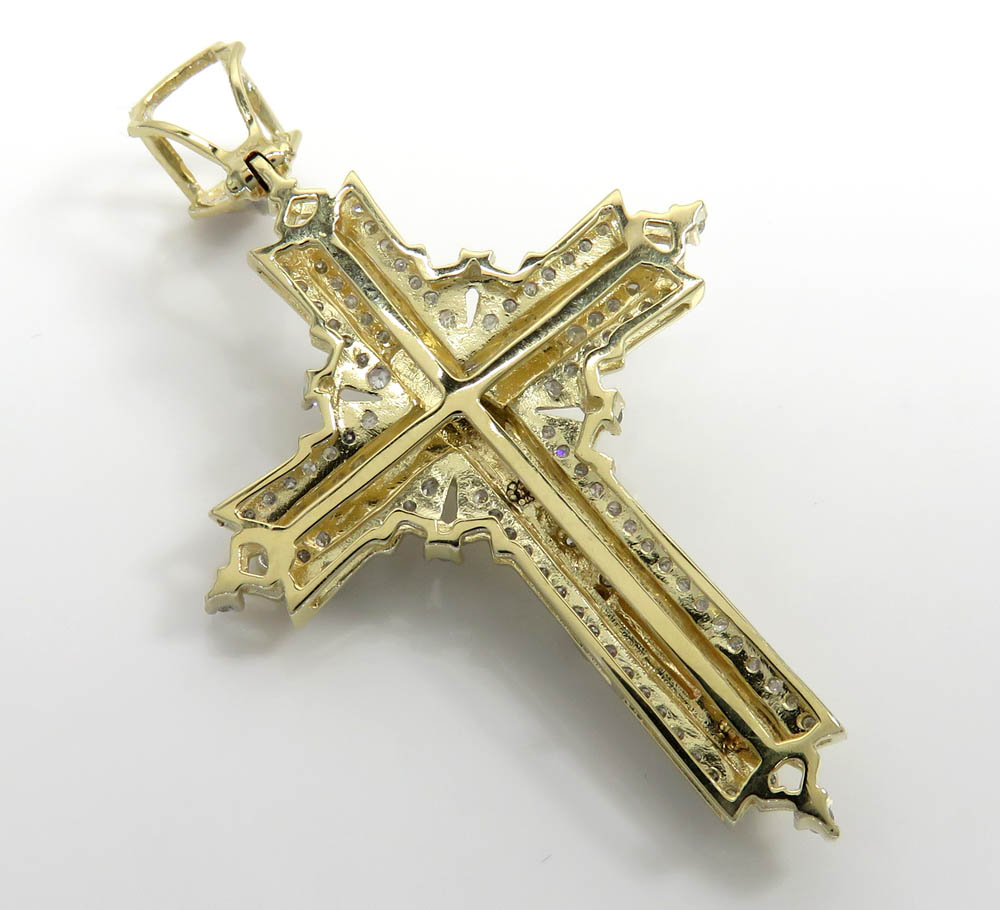 14k yellow gold fancy diamond jesus cross 0.75ct