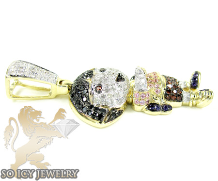 10k yellow gold multi color diamond dora the explorer pendant 1.75ct