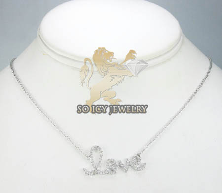 14k white gold diamond love pendant chain  0.40ct