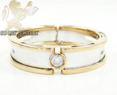 Mens baraka 18k white & rose gold diamond wedding band 0.08ct