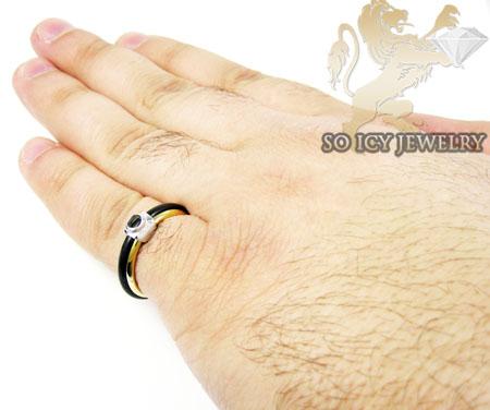 Mens baraka 18k white & yellow gold rubber wedding band
