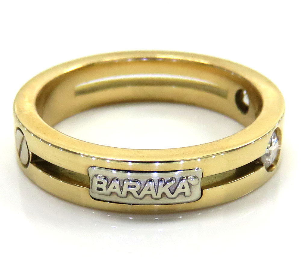 Mens baraka 18k yellow gold diamond wedding band 0.30ct
