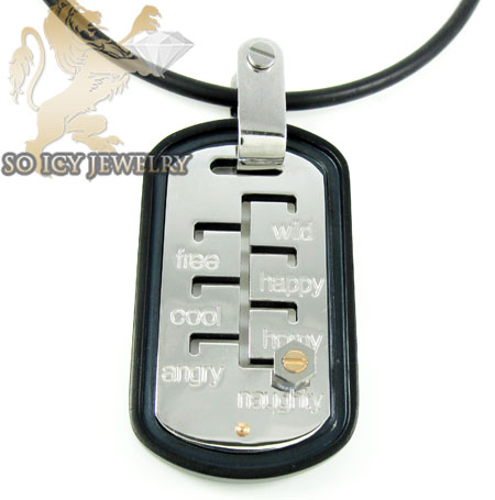 Mens baraka 18k gold & high tech ceramic mood & day pendant
