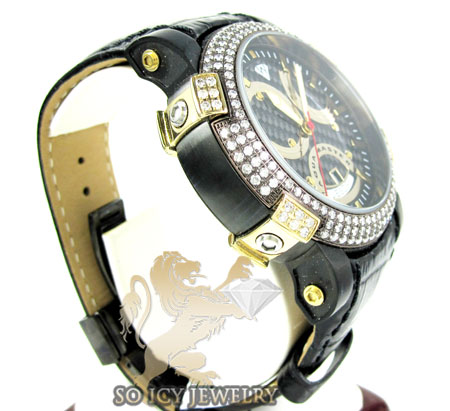 Mens aqua master black & yellow steel diamond automatic titanic watch 3.50ct