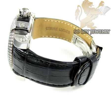 Mens aqua master black & white steel diamond automatic titanic watch 3.50ct