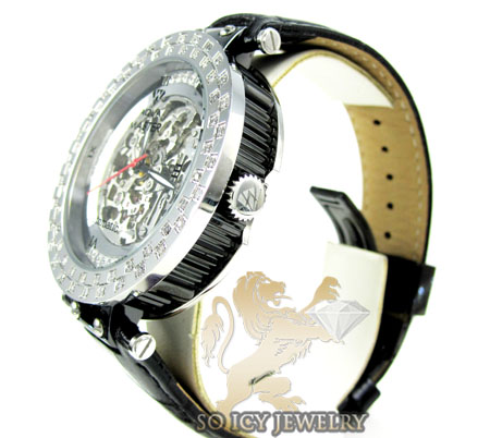 Mens aqua master black & white steel automatic diamond watch 1.25ct