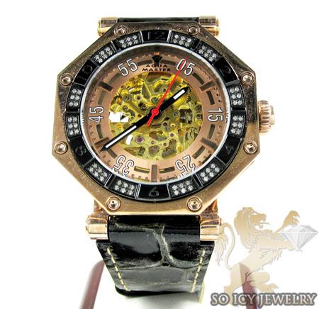 Mens aqua mater black & rose steel automatic diamond octagon watch 1.00ct