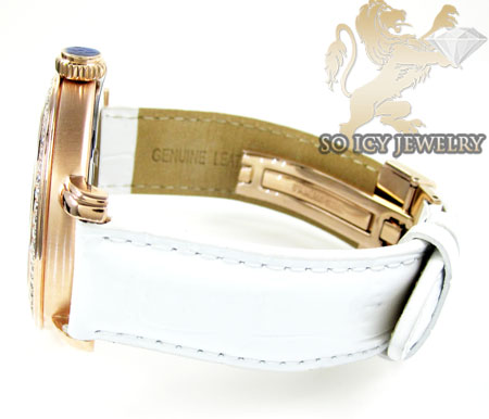 Mens aqua master rose stainless steel 1 row diamond mechanical watch 2.25ct