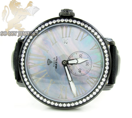 Mens aqua master black stainless steel 1 row diamond mechanical watch 2.25ct