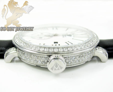 Mens aqua master full diamond case mechanical watch 5.64ct