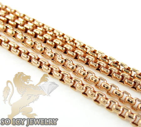 14k rose gold box link chain 16-24 inch 1.5mm