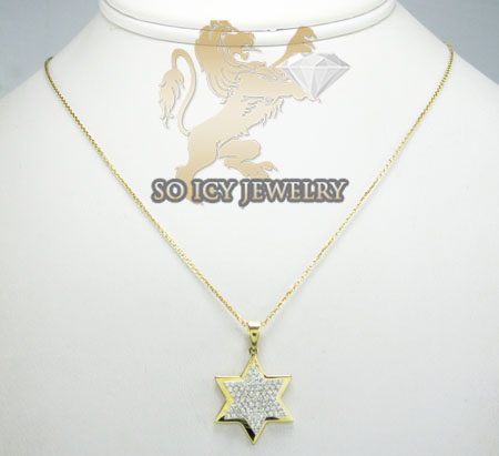 18k yellow gold diamond star of david pendant & chain 0.30ct