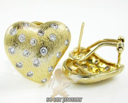 14k yellow gold diamond heart earrings 0.77ct