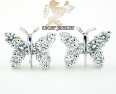 18k white gold diamond butterfly earrings 0.59ct