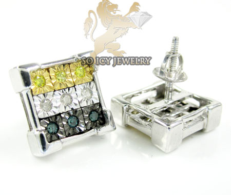 .925 white sterling silver diamond cut diamond earrings 0.50ct