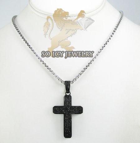 Black sterling silver black diamond cross 1.88ct