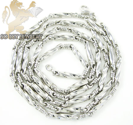 14k white gold bullet link chain 18 inch 2.8mm