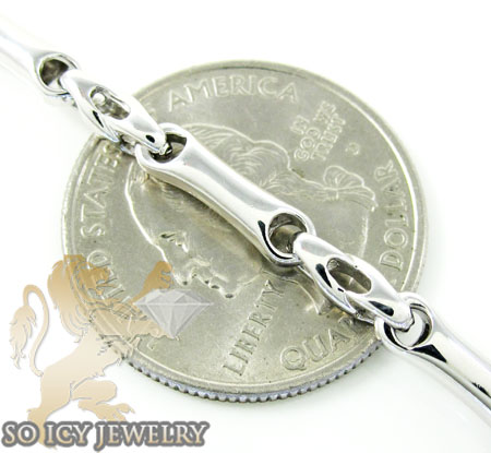 14k white gold bullet link chain 20 inch 3.8mm