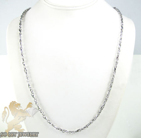 14k white gold bullet link chain 24 inch 3.8mm