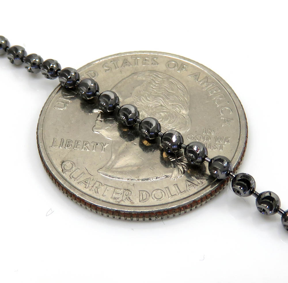 14k black gold diamond cut combat ball bead chain 24 inch 2.5mm