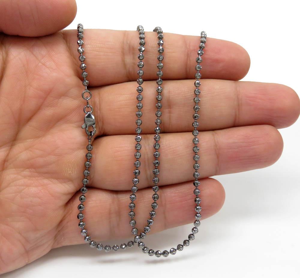 14k black gold diamond cut combat ball bead chain 24 inch 2.5mm