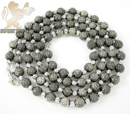 14k two tone black gold diamond cut combat ball bead chain 24 inch 5mm