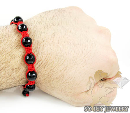 Macramé black onyx faceted bead red rope bracelet