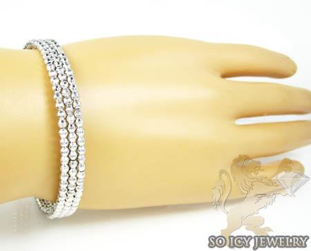 Ladies .925 silver triple circle diamond cut bead bangle bracelet