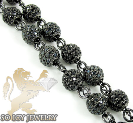 Black silver cz jewish rosary bead chain necklace 15.00ct