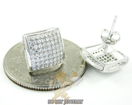 .925 white sterling silver cz earrings 0.75ct