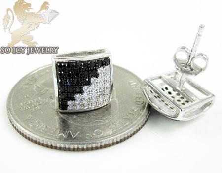 .925 white sterling silver black & white cz earrings 0.70ct