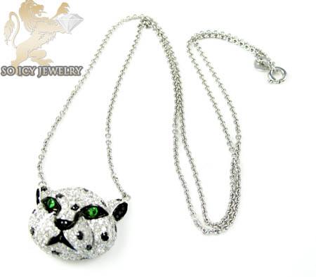 Ladies 18k white gold tiger head diamond pendant 2.00ct