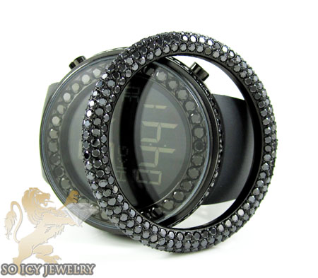 Black cz techno com kc digital full case big bezel watch 13.00ct