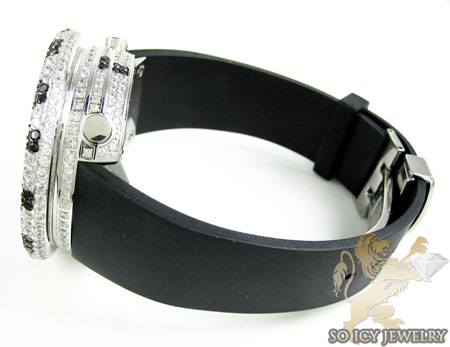 Black & white cz techno com kc digital full case big bezel watch 13.00ct