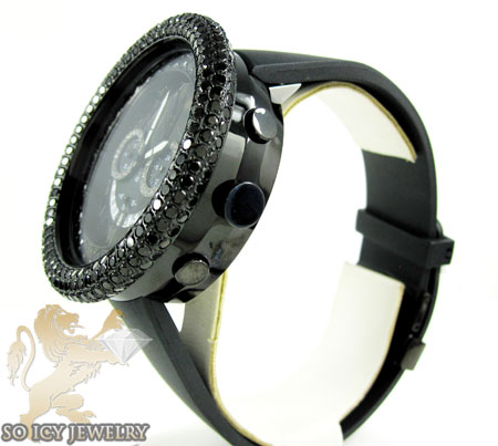 Black cz techno com kc big bezel watch 10.00ct