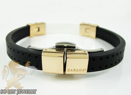 Mens baraka 18k gold & high tech white ceramic bracelet 0.02ct
