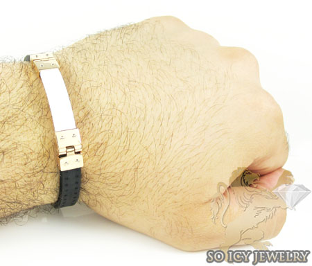 Mens baraka 18k gold & high tech white ceramic bracelet 0.02ct
